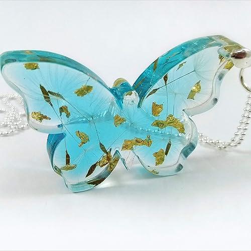 7dec36e4ddcf8 Sterling Silver Butterfly Dandelion Necklace - Blue Resin Pendant ...