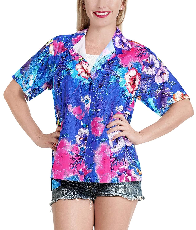 Women Shirt Top Hawaiian Beach Blouses Tank Casual Aloha Holiday Button Down