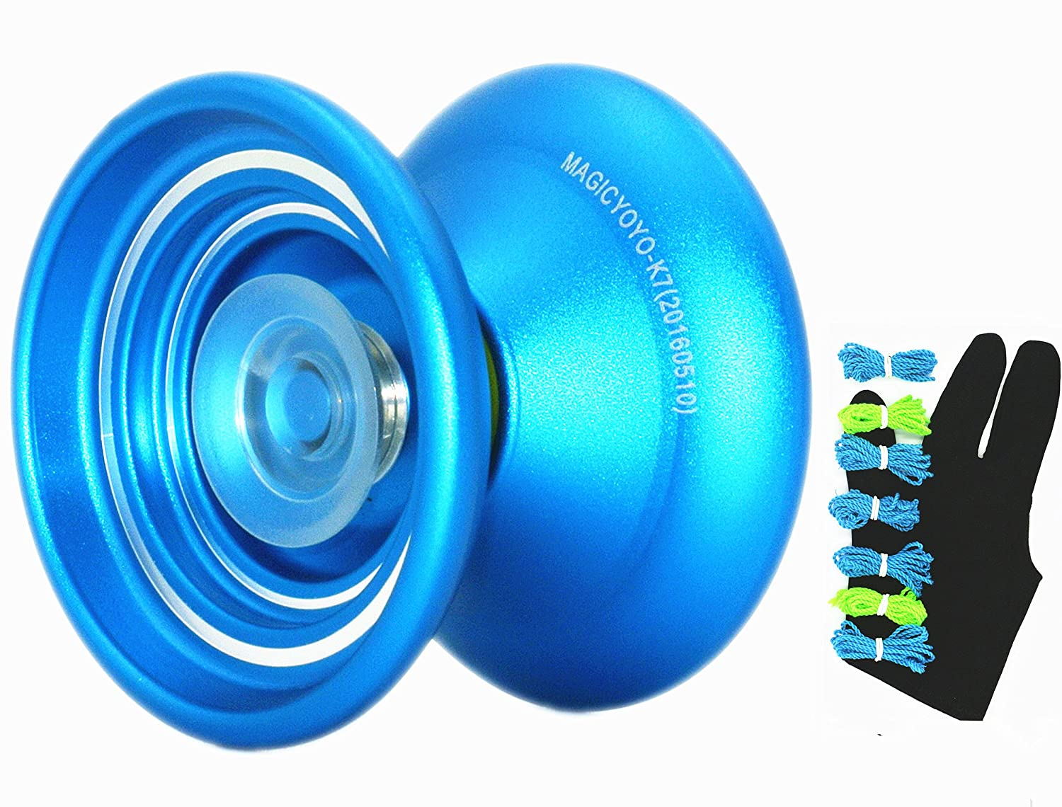 Responsive Metal YOYO Professional Yoyo Magicyoyo K7 For Beginners With 7 Strings + 1 Glove(BLUE)