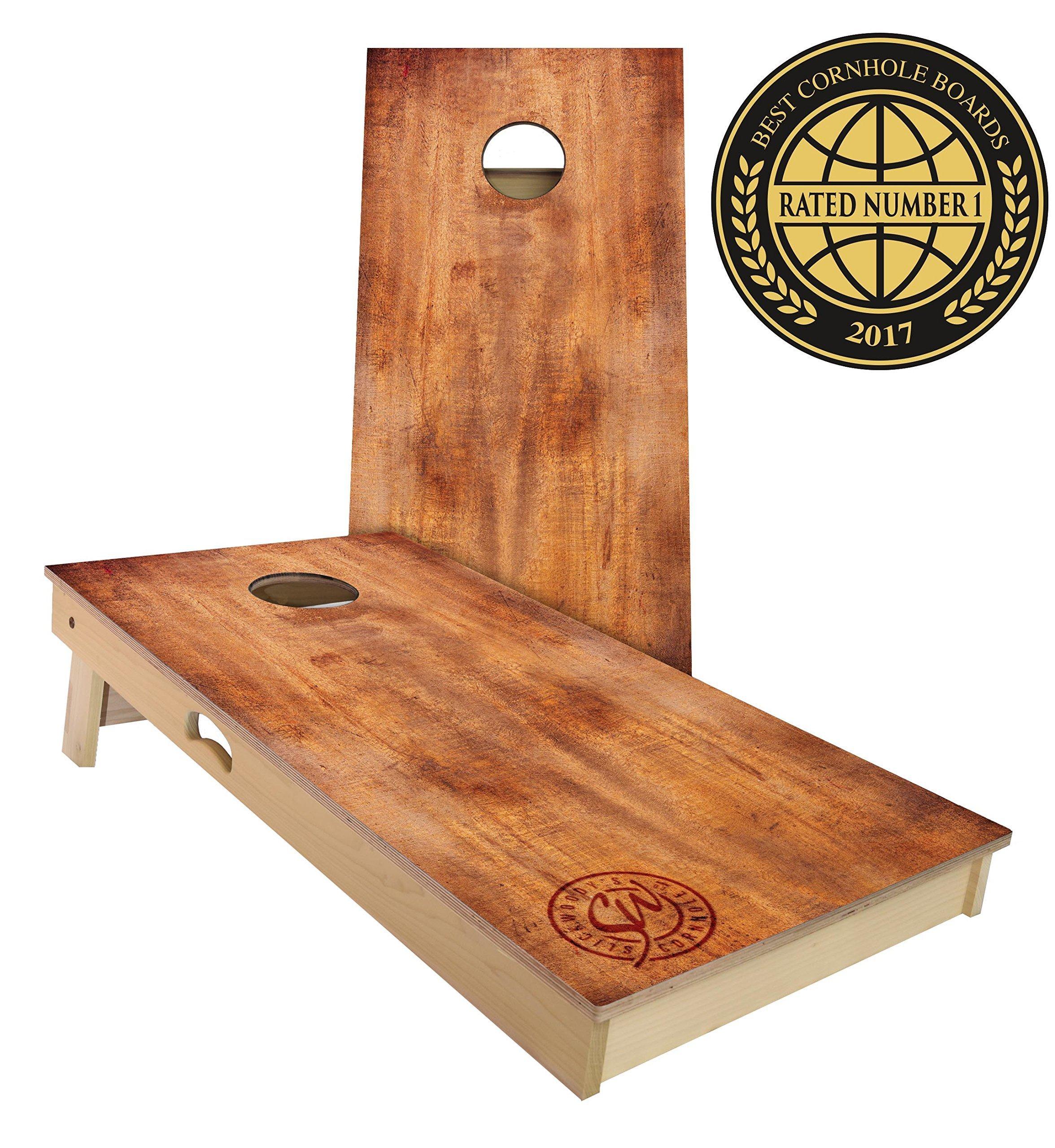 Slick Woody's Burnt Wood Cornhole Set, 4 by 2 Feet by Slick Woody's Cornhole Co.