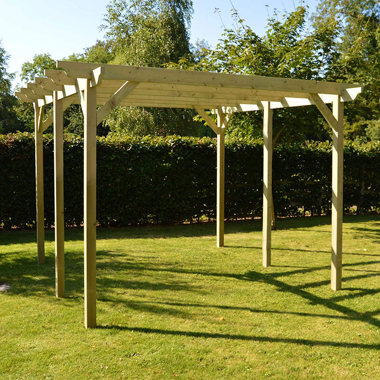 Estructura de madera jardín pérgola 4,8 mx 4,8 m – esculpido Rafter, verde claro