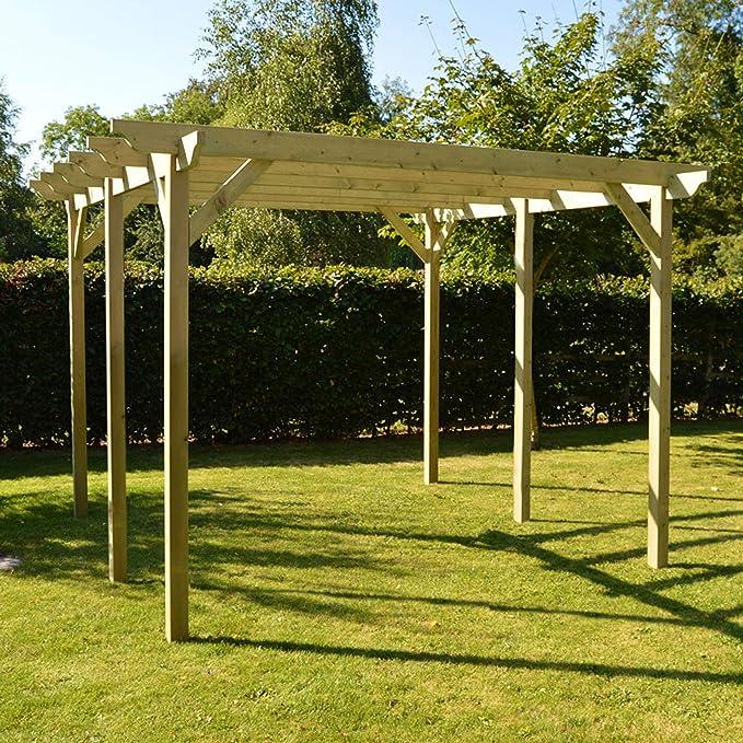 Estructura de madera jardín pérgola 4, 8 m x 4, 8 m – esculpido ...
