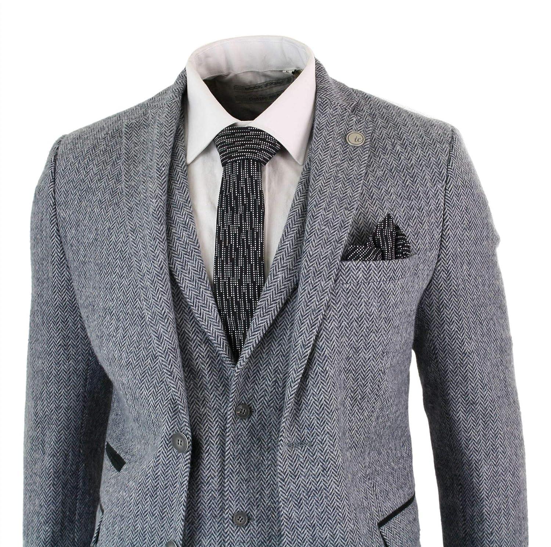 b4e66e59ce97 TruClothing Mens Light Grey 3 Piece Tweed Suit Herringbone Wool Vintage  Retro Peaky Blinders Grey 44 at Amazon Men s Clothing store