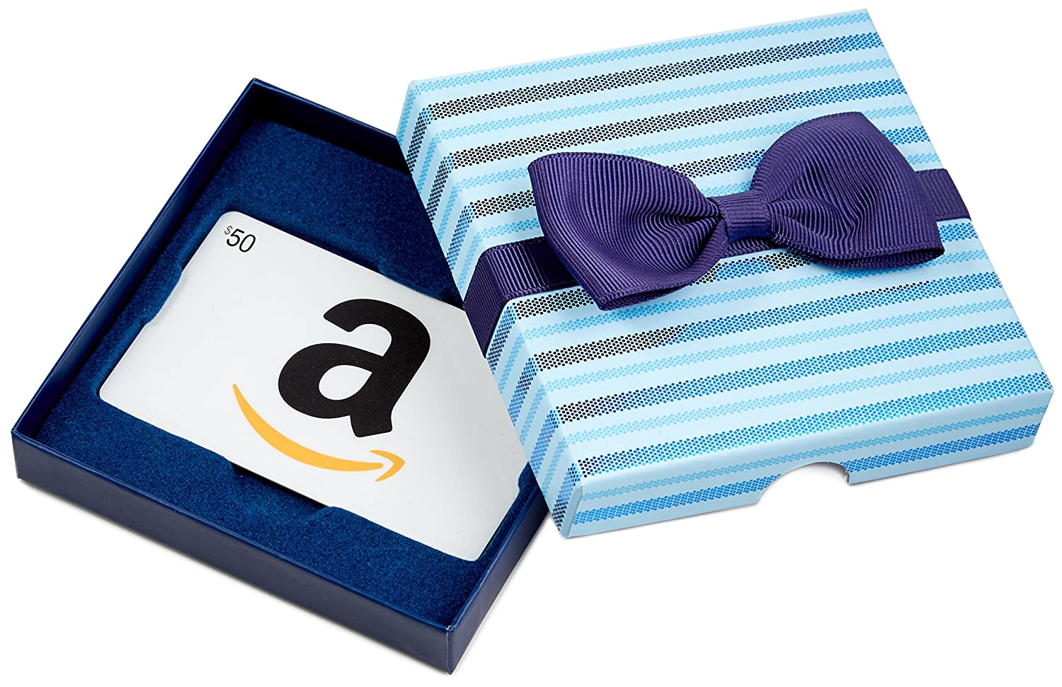 .com Gift Card in a Blue Bow-Tie Box VariableDenomination
