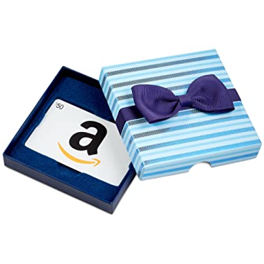 Amazon.com Gift Card for Any Amount in a Blue Bow-Tie Box
