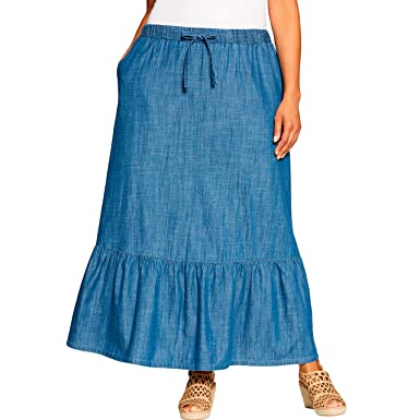 6037690f6667 Woman Within Women's Plus Size Petite Drawstring Chambray Skirt at Amazon  Women's Clothing store: