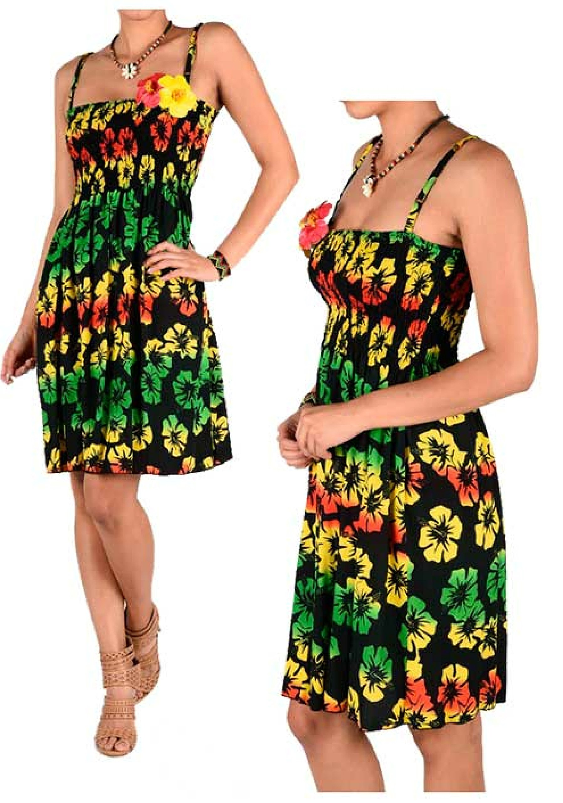 Women's Rasta Hibiscus Tropical Flowers Floral Leaves Beach Sundress Dress Rasta Dress 1 Size Fit Most