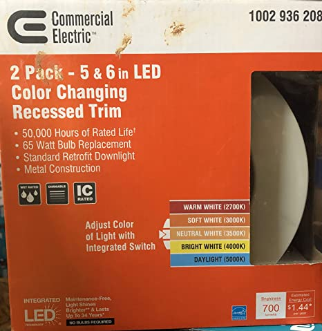 Amazon com: Commercial Electric 2 Pack - 5 & 6 in LED Color Changing