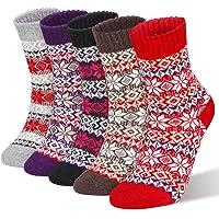 RenFox - Calcetines de invierno para mujer, 5 pares de calcetines de lana, calcetines de punto para mujer, de algodón…