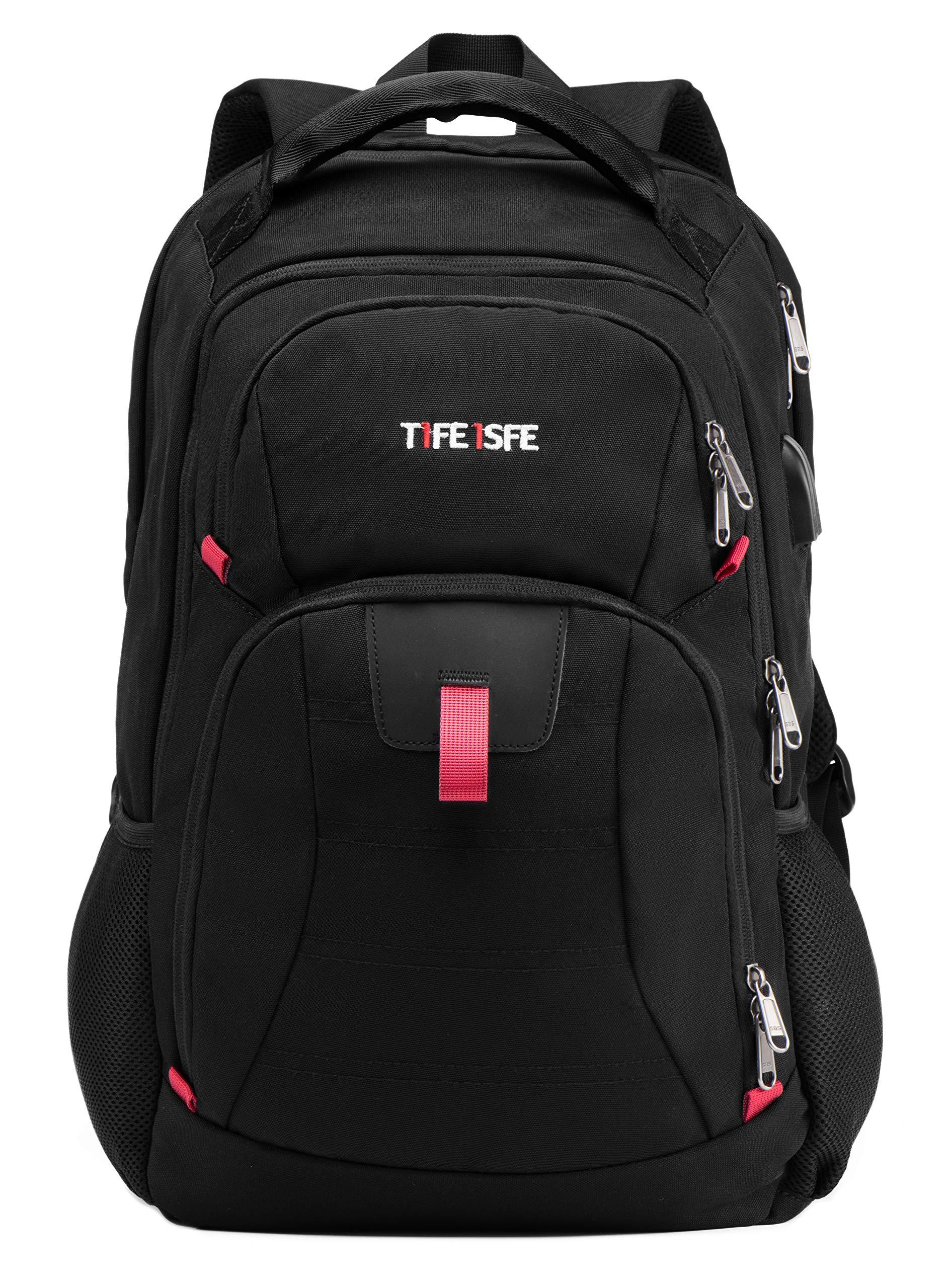 T1FE 1SFE 1811-B 19''/40L X Large Business Travel Laptop Backpack | College Book Bag | 4 Compartments' Casual Daypack | TSA ScanSmat & USB Charging & Earphone Plug