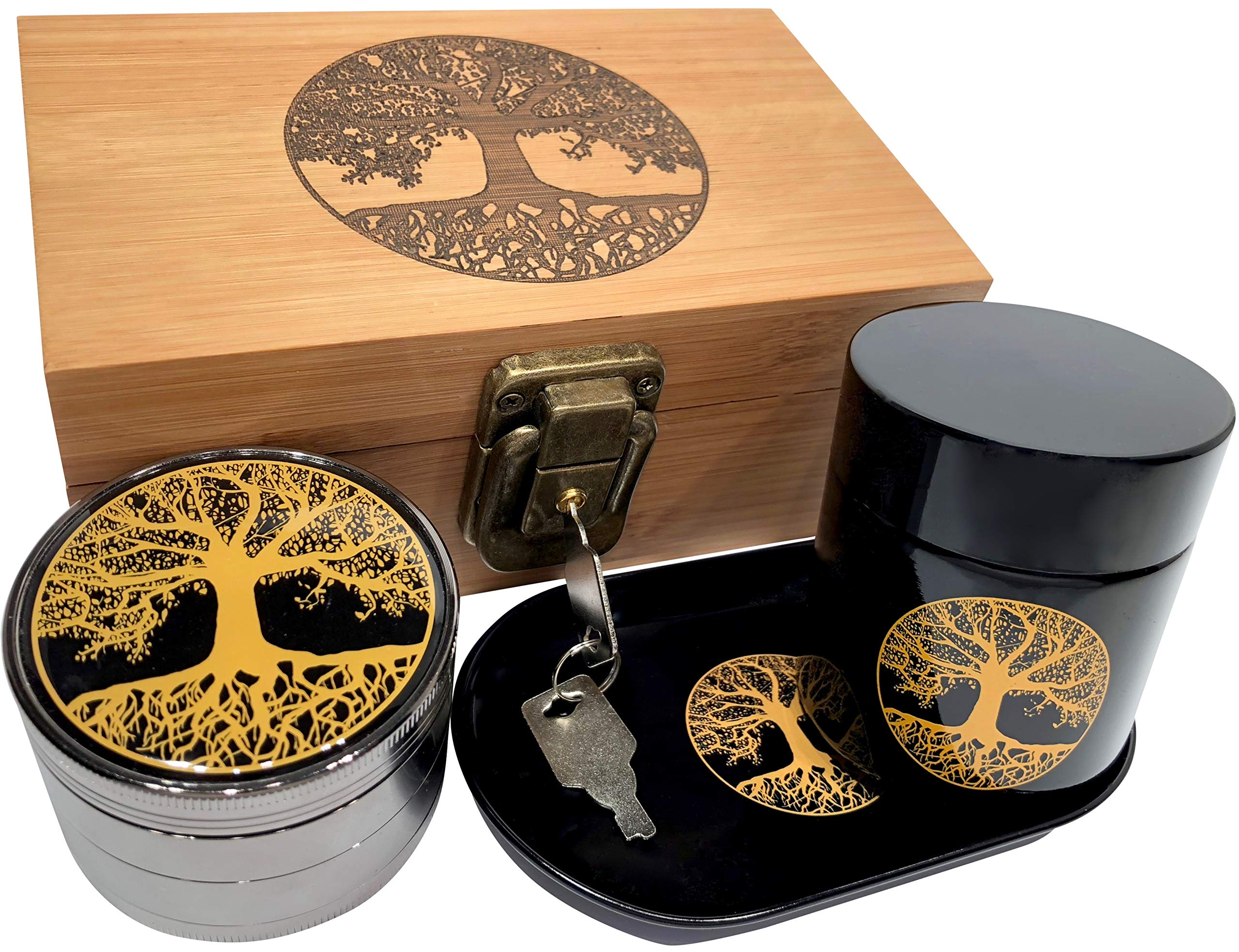 Tree of Life Stash Box Combo - Full Size Titanium 4 Part Herb Grinder - UV Glass stash jar - Engraved Wood Stash Box - Smell Proof and Airtight (Tree of Life) by Swagstr Grinders