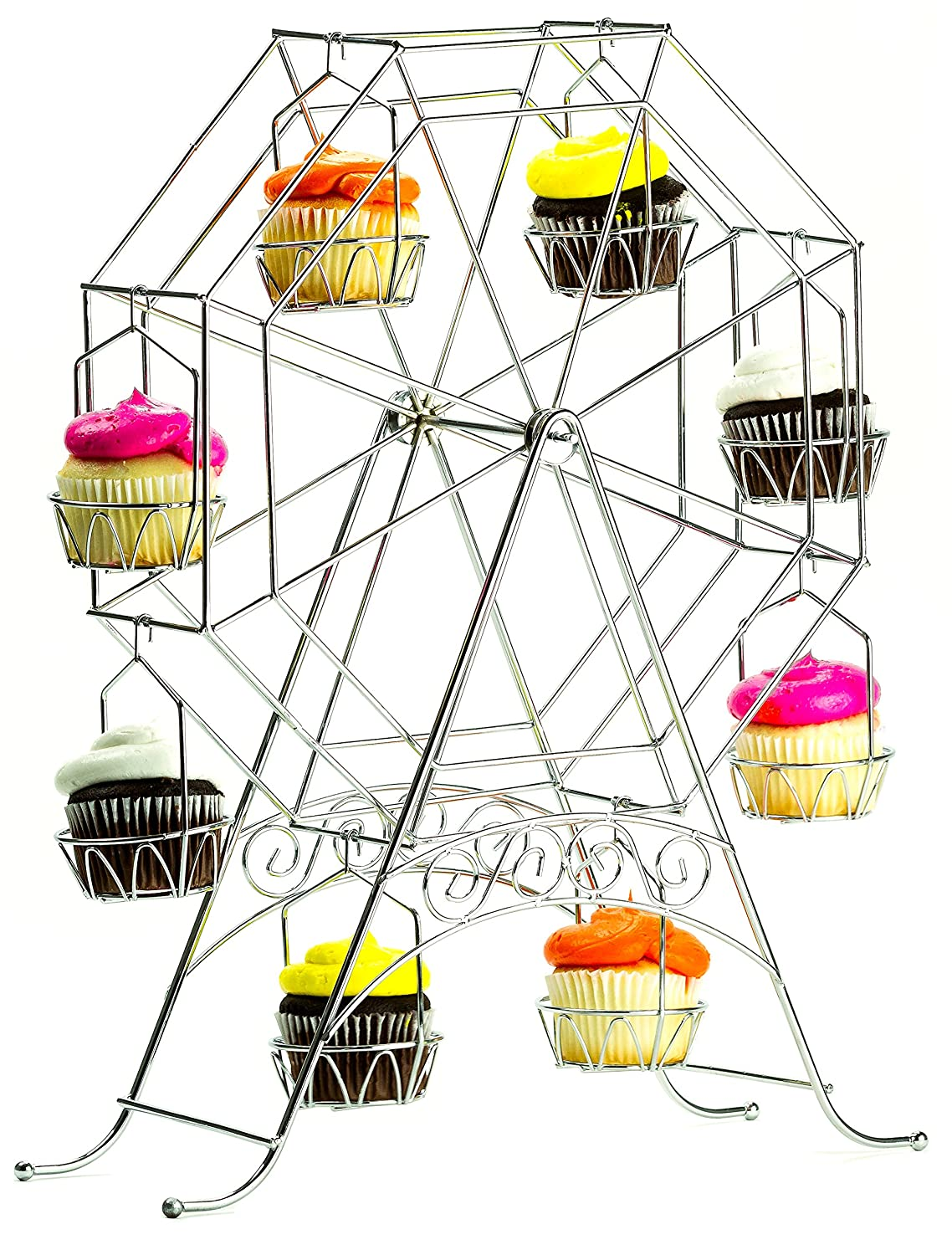 Ferris Wheel Cupcake Stand - Rotating Dessert Holder Station Tower - Spinning Cupcake Tray