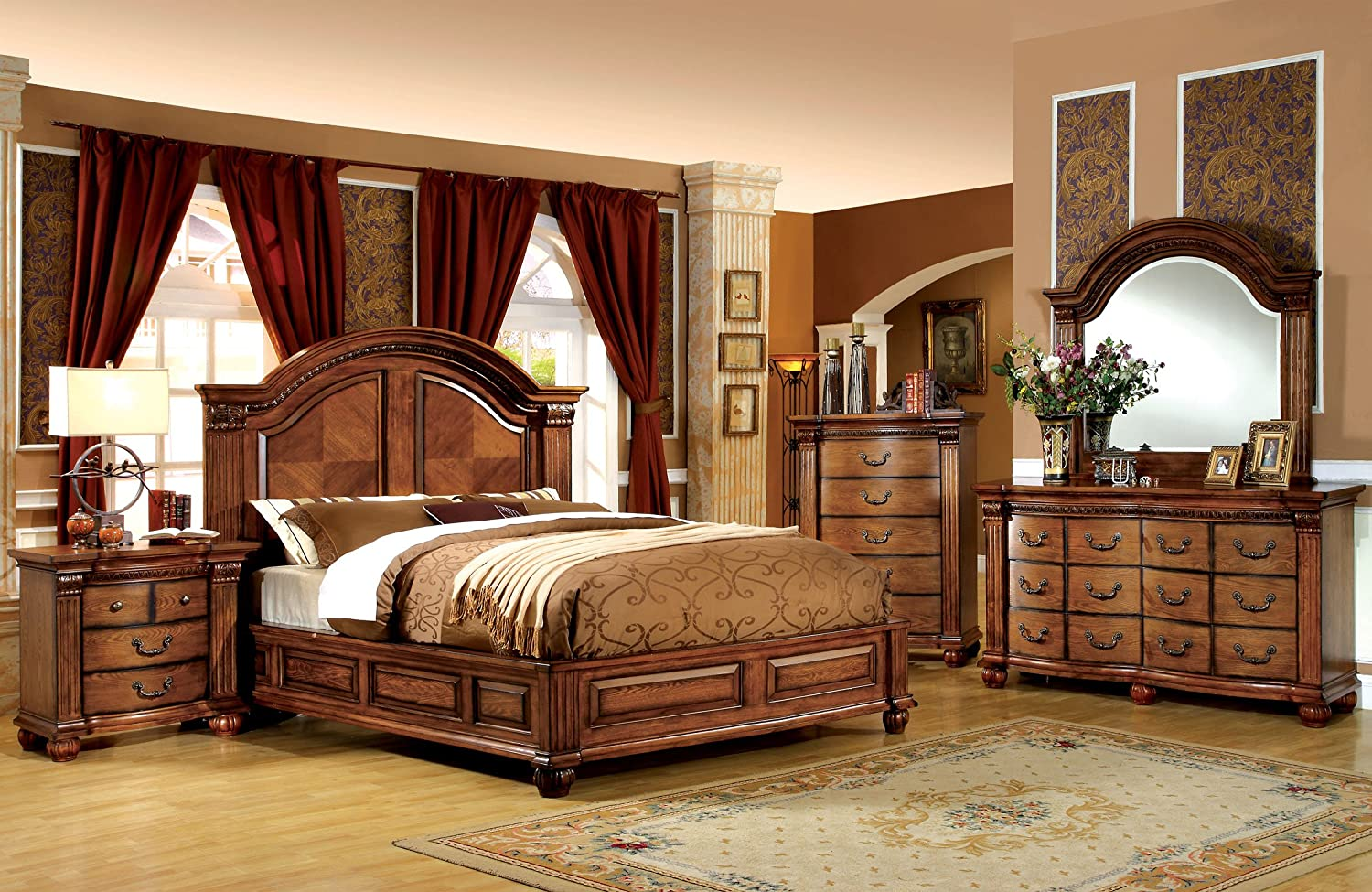 Amazon.com: Furniture Of America Lannister 3 Piece Elegant Bedroom Set With  2 Nightstands, Queen, Antique Tobacco Oak Finish: Kitchen U0026 Dining