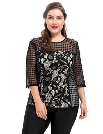 6661c740aad09 Chicwe Women s Plus Size Stretch Contrast Lined Floral Printed Lace Top -  Casual and Work Blouse