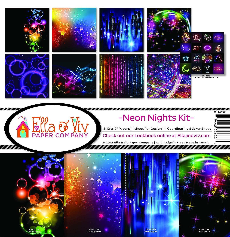 Ella /& Viv by Reminisce EAV-1201 Neon Nights Scrapbook Collection Kit Multi Color Palette