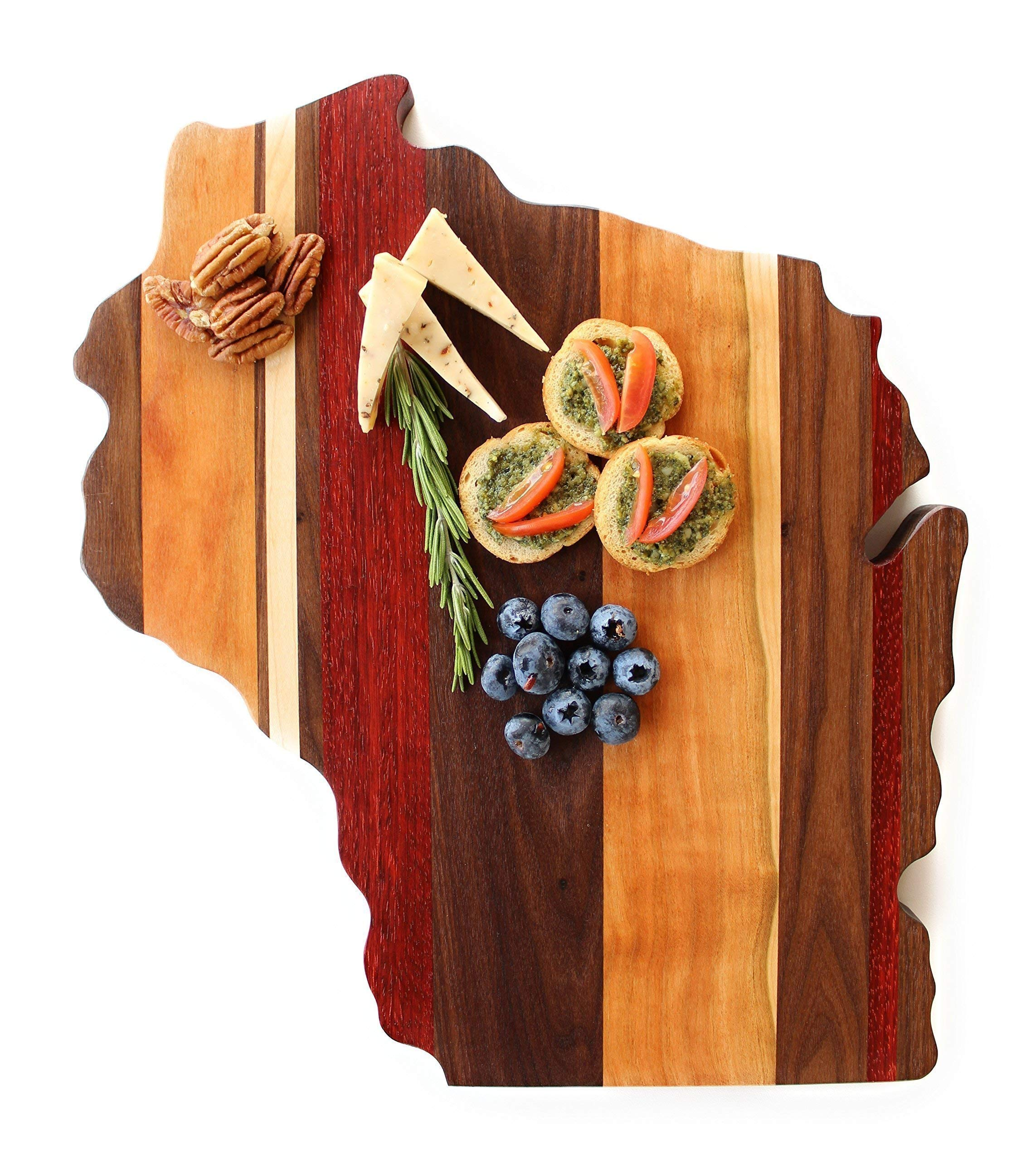 Wisconsin Cutting Board Wood Engraved Personalized Wedding Anniversary Gift Custom Wooden Sign Closing Gift Great Lakes Chef State Cooking Wall Art Woodworking Handmade in USA