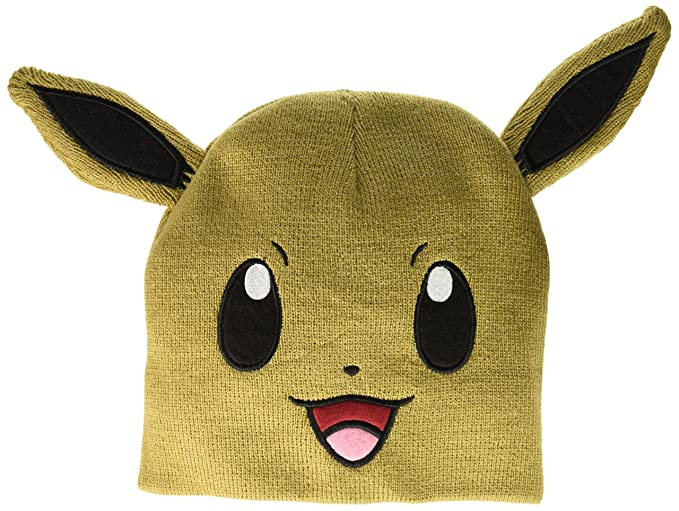 a13e0f62136 Amazon.com  bioWorld Pokemon Eevee Big Face Fleece Cap Beanie with ...