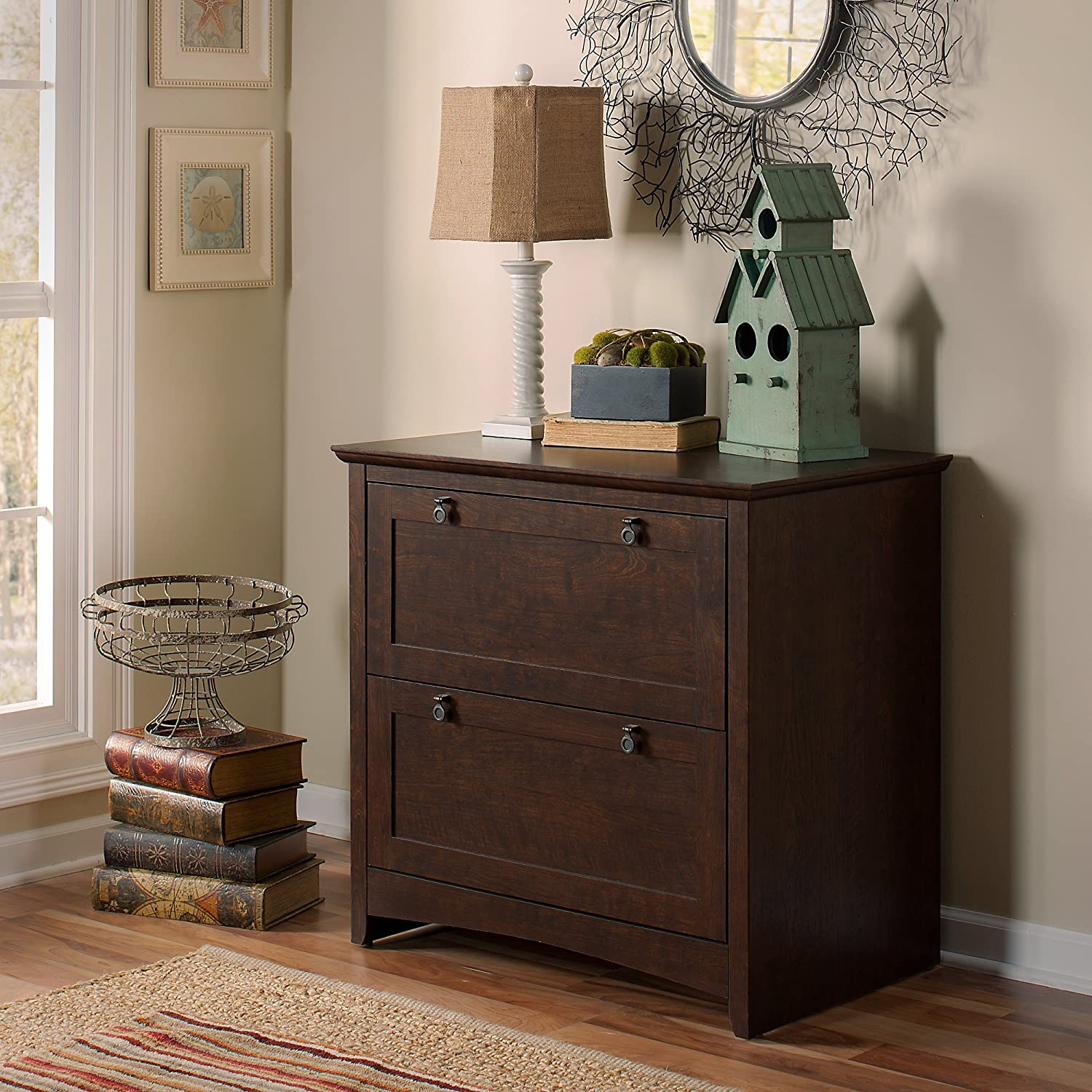 Bush Furniture Buena Vista Small Storage Cabinet with Doors in Madison Cherry