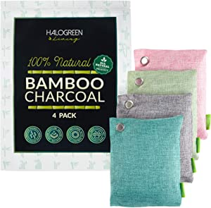 HALOGREEN LIVING Activated Bamboo Charcoal Air Purifying Bag, 4 Pack - Natural Air Purifying Bags to Absorb Odors and Excessive Moistures - Premium Charcoal Air Freshener, House and Closet Deodorizer