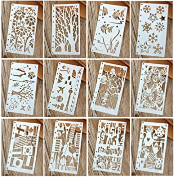 12 Pcs Drawing Painting Stencils Scale Template Sets For Loose Leaf A6  Bullet Journal Diary Notebook  Loose Leaf Template