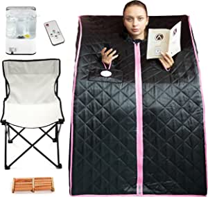 Crew & Axel Steam Sauna Personal Home Spa – Portable Sauna for The Home with Rapid Heat Heat, Timed Remote, Chair, Foot Massager – Helps with Detox & Relaxation (Black)