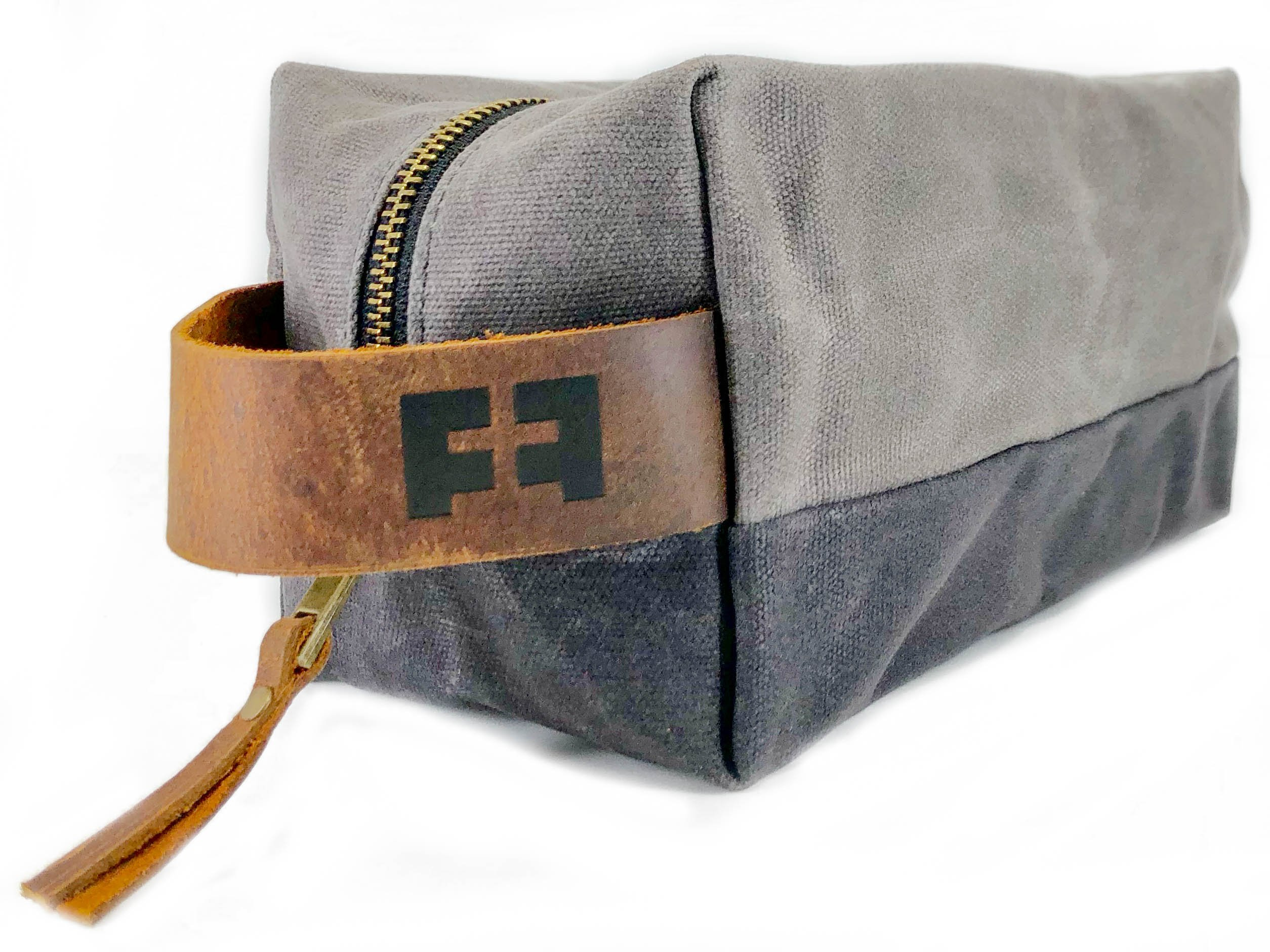 the DOPP KIT | waxed cotton canvas toiletry bag with leather handle (Cloud)