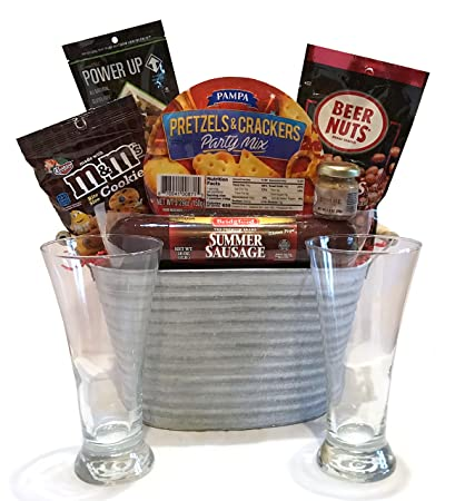 Gift Baskets for Men - Deluxe Classic Beer Bucket Filled With Pilsner Glasses, Summer Sausage
