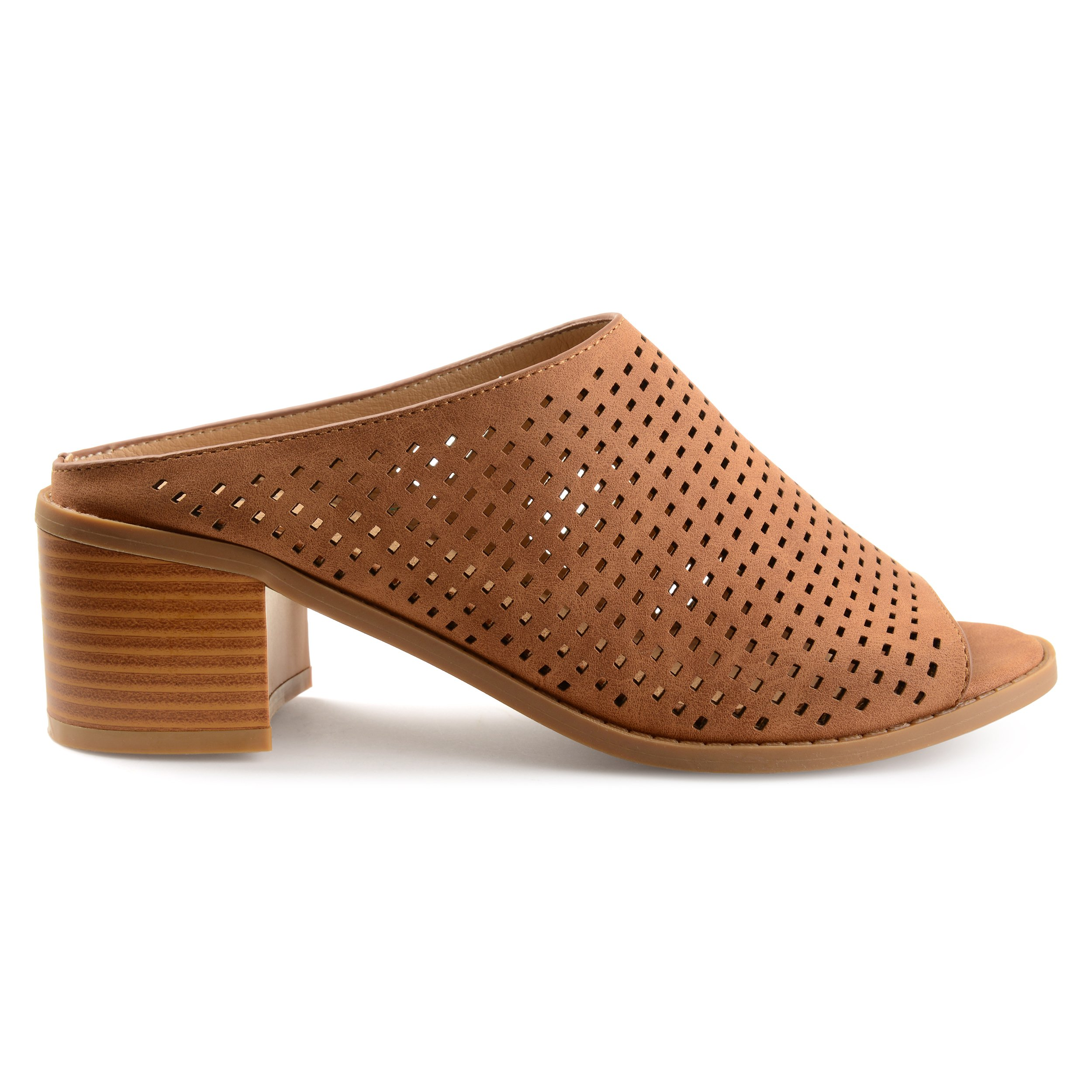 Brinley Co. Womens Zess Faux Nubuck Open-Toe Perforated Mules Brown, 6.5 Regular US