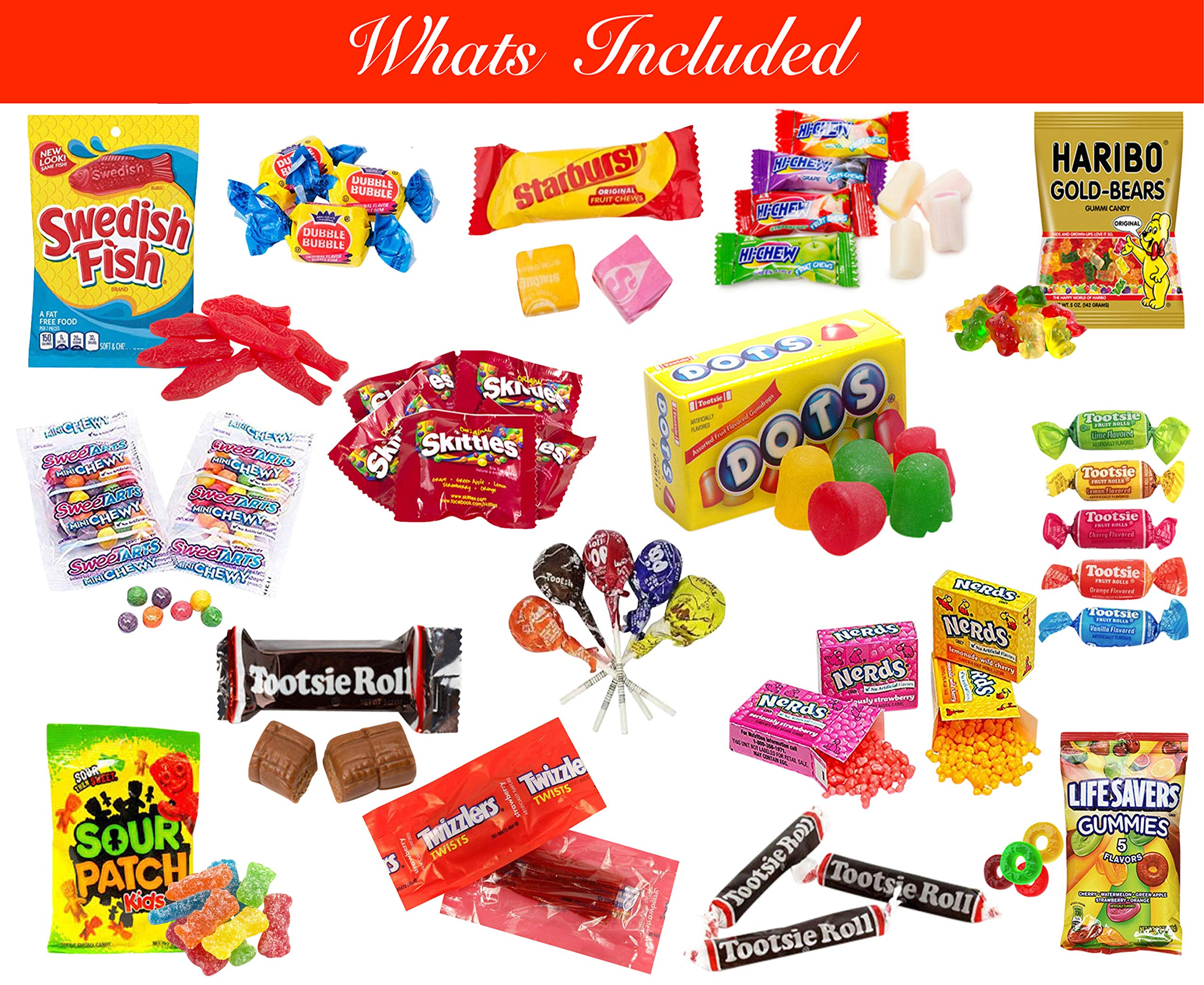 LA Signature Assorted Classic Candy - Huge PARTY MIX Bulk BOX! 11.25 lbs / 180 oz Classic Candies Like Hi-Chew Starburst Haribo Skittles Swedish Fish SweeTarts Sour Patch Tootsie over 430 pieces by LA Signature (Image #4)