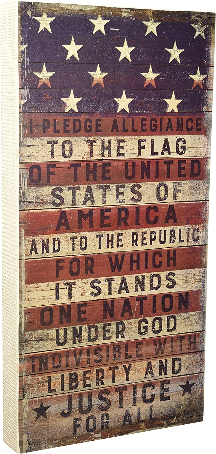 Primitives by Kathy Rustic Patriotic Box Sign, 9 x 18-Inches, Pledge to The Flag