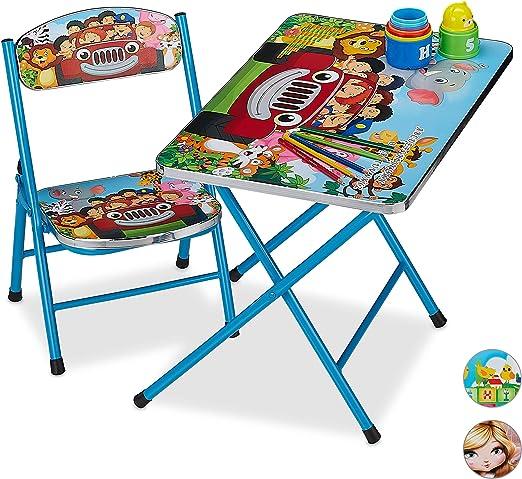 Relaxdays Mobiliario Plegable Infantil, Mesa de Actividades, Silla para niños, Safari, 1 Ud, Verde, Metal, plástico: Amazon.es: Juguetes y juegos