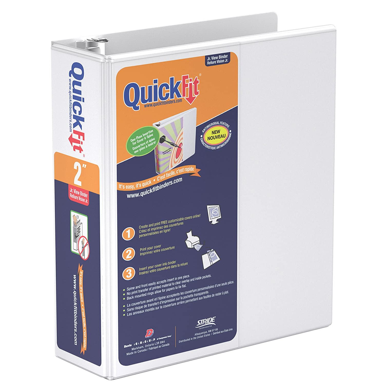 QuickFit Antimicrobial Round Ring Binder - 2 Binder Capacity - 5 1/2 x 8 1/2 Sheet Size - Round Ring Fastener - 2 Internal Pocket(s) - White - Recycled - 1 Each S.P. Richards CA 85130