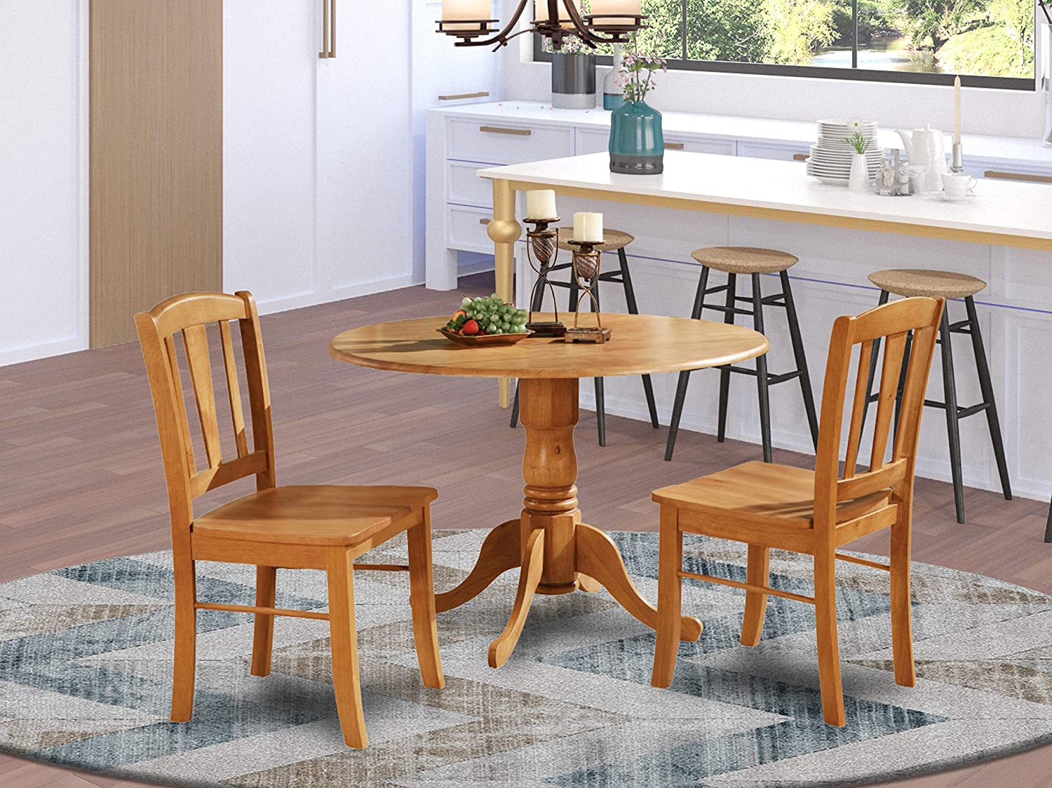 Amazon.com: DLin3-OAK-W 3 Pc Kitchen Table Set-Kitchen Dining Nook And 2 Dinette Chairs Chairs: Furniture & Decor