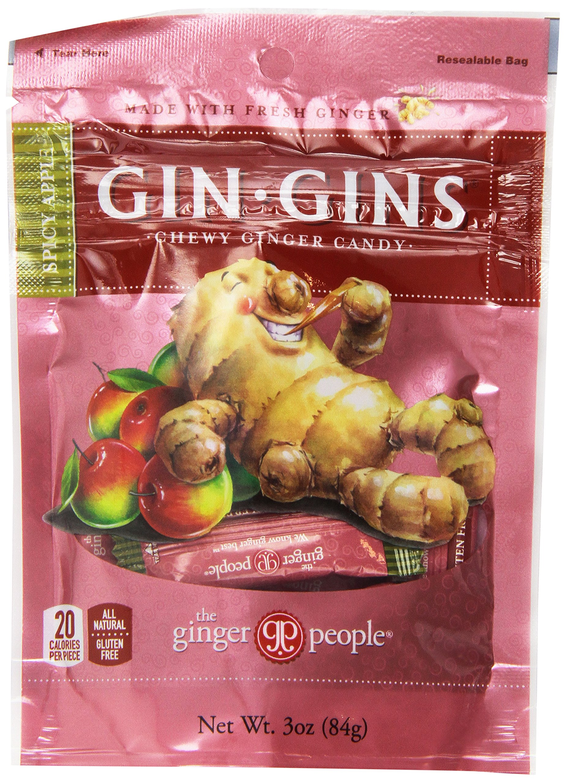 Gin Gins Spicy Apple Chewy Ginger Candy 3 Oz Bag Ginger Chews (Pack of 3)