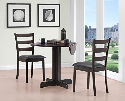 36u0026quot; Drop Leaf Table With Two Chairs All Cappuccino Finish