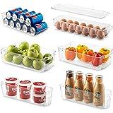 Set Of 6 Refrigerator Organizer Bins - Stackable Fridge Organizers for Freezer, Kitchen, Countertops, Cabinets - Clear…
