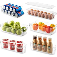 Set of 6 Refrigerator Organizer Bins - Stackable Fridge Organizers for Freezer, Kitchen, Countertops, Cabinets - Clear…