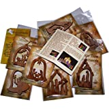 Olive Wood Ornaments - Mix (Set of 12 Flat Ornaments) with Nativity Story Booklet