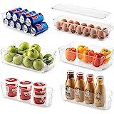 Juego de 6 cubos de almacenamiento para refrigerador, apilables para refrigerador, con asas de recorte para congelador, cocin
