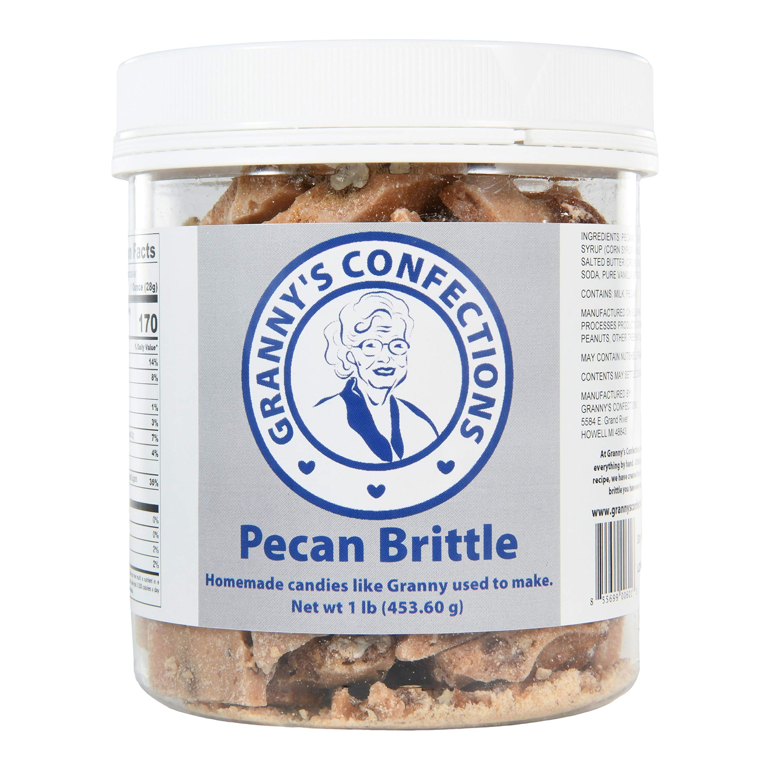 Handmade Pecan Brittle. Grade ''A'' Pecans. Voted Best Brittle - One Pound (16 oz) Container by Granny's Confections LLC (Image #1)