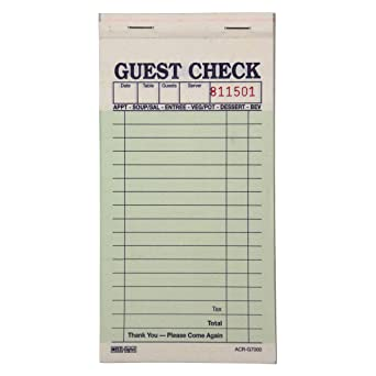 1 Part Case of 100 Pads, 100 Sheets per Pad White DayMark ACR-G3516 Guest Check Bond 5-3//32 Length x 3-13//32 Width