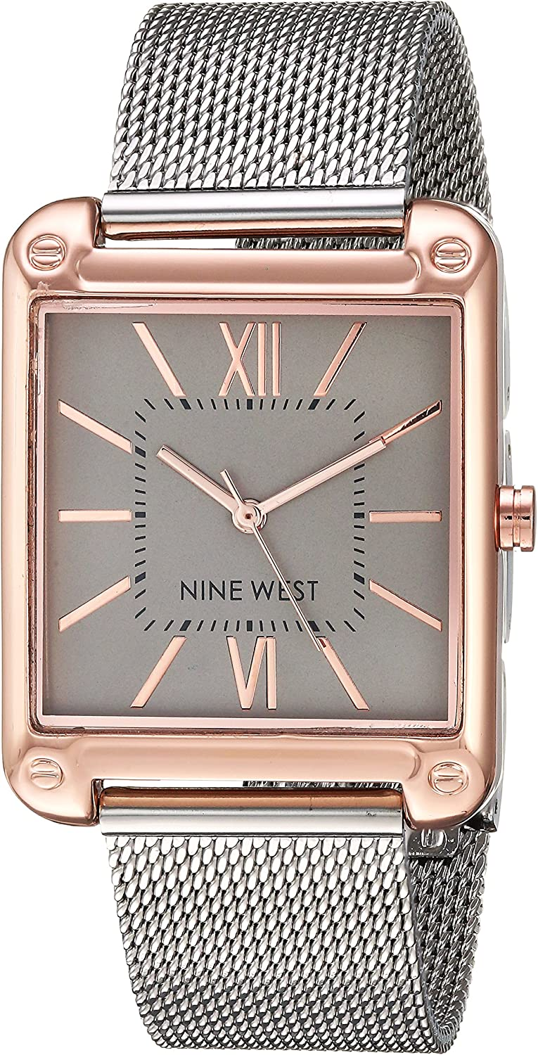 Nine West Women'sRose Gold-Tone and Silver-Tone Mesh Bracelet Watch