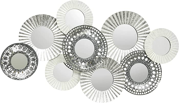 Modernist Floating Roundels, Metal Grey Wall Decor, Brilliant Glass Inset Mirrors, Crinkle and Cut-Out Details, Distressed Accents, Enameled and Painted Iron, 43 W x 25.25 H Inches