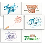 Hand Painted Watercolors Design Thank You Note Cards 36 Bulk - Lovely, Like Handmade Cards Box Set - Contains Blank Cards with Envelopes - 6 Special Designs by Papertopia