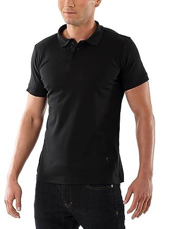 b0a114a4c755 Albert Kreuz Herren Poloshirt Business aus merzerisiertem Baumwoll-Piqué  slimfit tailliert extra-lang in Schwarz  Amazon.de  Bekleidung