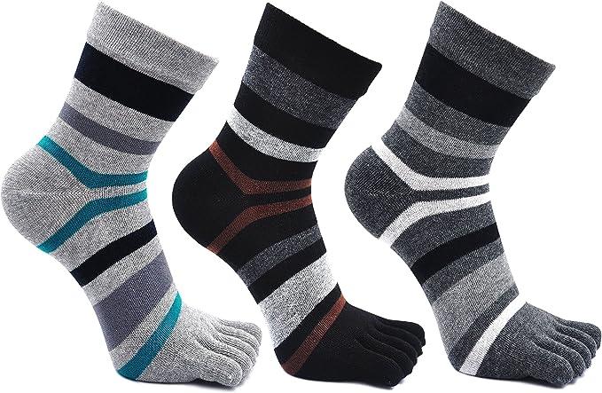 Calcetines de 3 Dedos para Hombres para Deportes Ciclismo Correr, Hombre Calcetines del dedo del pie, Calcetines Dedos de Pies Separados, 3 pares (Multicolor-3 pares): Amazon.es: Ropa y accesorios