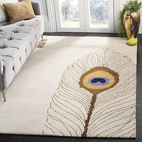 Safavieh Soho Collection SOH787A Handmade Beige and Brown Premium Wool Area Rug 7 6 x 9 6