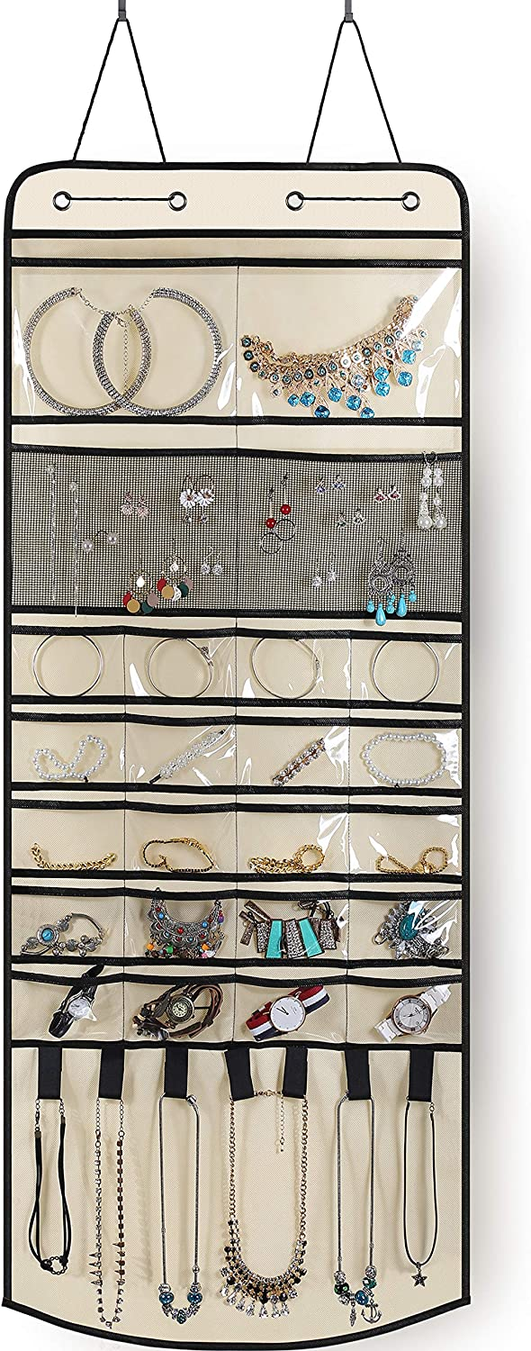 MISSLO Over The Door Hanging Jewelry Organizer 24 Different Pockets with 7 Loops and Hooks for Earring Necklace Bracelet Ring, Beige
