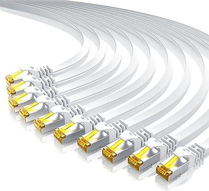 10 X 0 25m Cat 7 Netzwerkkabel Flach Ethernet Kabel Gigabit Lan 10 Gbit S Patchkabel Flachbandkabel Verlegekabel Cat 7 U Ftp Pimf Schirmung Mit Rj 45 Stecker Switch Router Modem Elektronik