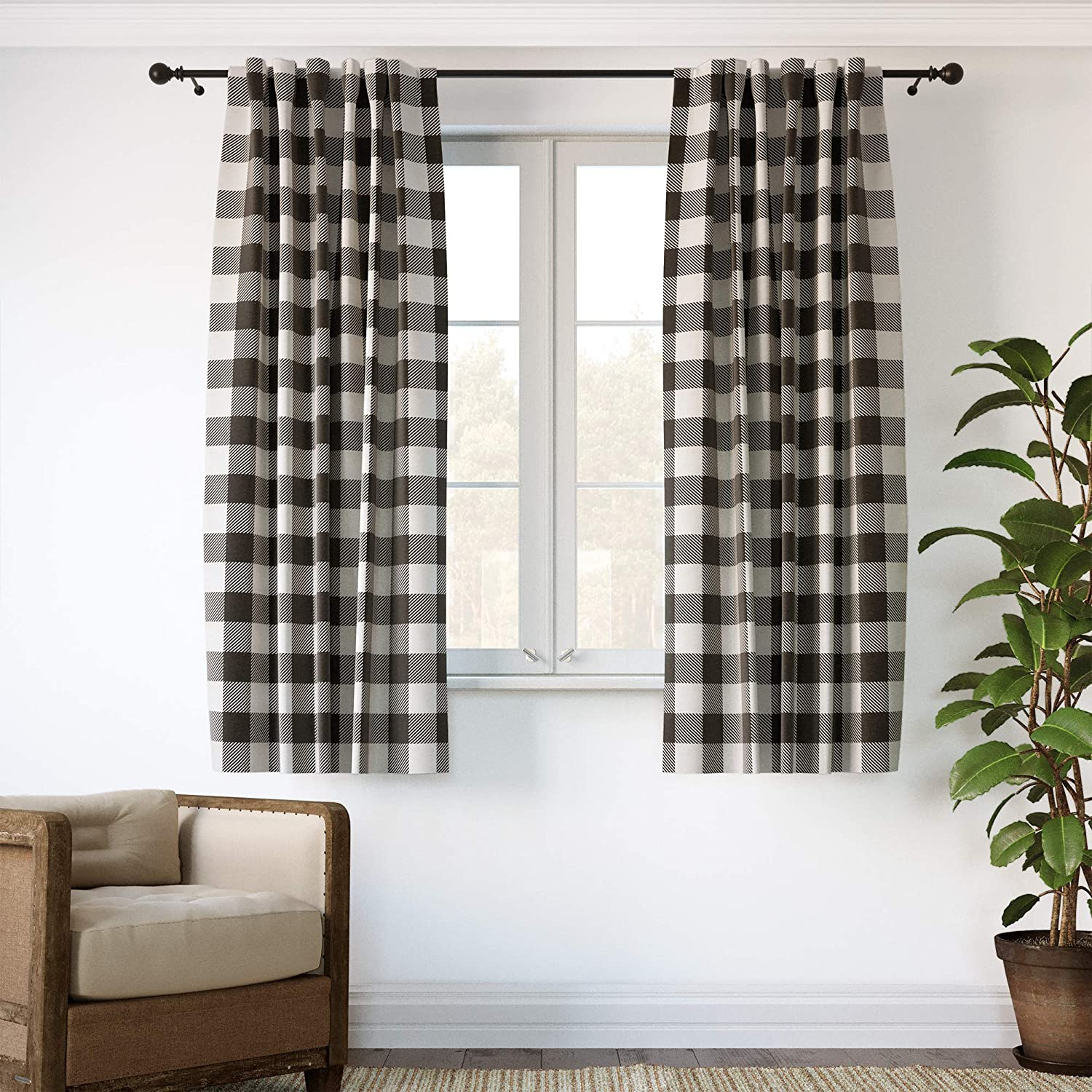 """Barnyard Designs Buffalo Plaid Window Curtain Panels for Kitchen, Living Room, Bedroom, Graphite and Ivory Gingham Check Rod Pocket Curtains, Farmhouse Country Home Decor, 52"""" x 72"""", Set of 2"""